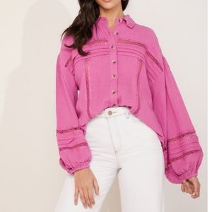 Free People NWT Summer Stars Button Front Top